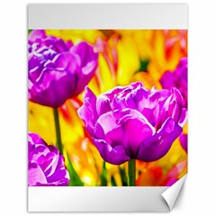 Violet Tulip Flowers Canvas 18  X 24  by FunnyCow