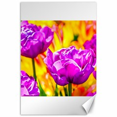 Violet Tulip Flowers Canvas 24  X 36  by FunnyCow