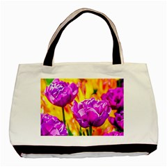 Violet Tulip Flowers Basic Tote Bag (two Sides) by FunnyCow