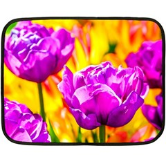 Violet Tulip Flowers Fleece Blanket (mini) by FunnyCow