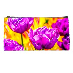 Violet Tulip Flowers Pencil Cases