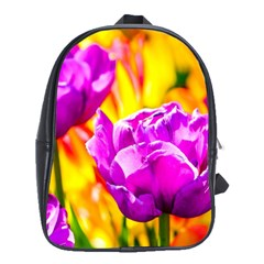 Violet Tulip Flowers School Bag (large) by FunnyCow