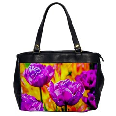 Violet Tulip Flowers Oversize Office Handbag