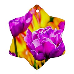 Violet Tulip Flowers Ornament (snowflake) by FunnyCow