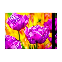 Violet Tulip Flowers Apple Ipad Mini Flip Case by FunnyCow
