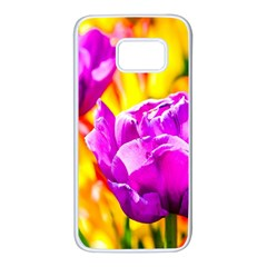 Violet Tulip Flowers Samsung Galaxy S7 White Seamless Case