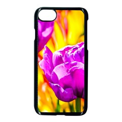 Violet Tulip Flowers Apple Iphone 7 Seamless Case (black)