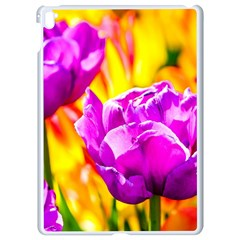 Violet Tulip Flowers Apple Ipad Pro 9 7   White Seamless Case