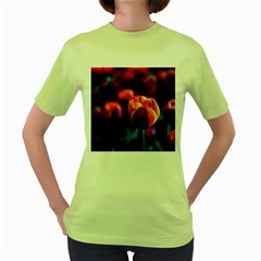 Red Tulips Women s Green T Shirt