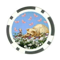 Cat And Butterflies Poker Chip Card Guard by snowwhitegirl