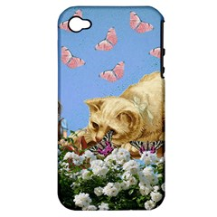 Cat And Butterflies Apple Iphone 4/4s Hardshell Case (pc+silicone)