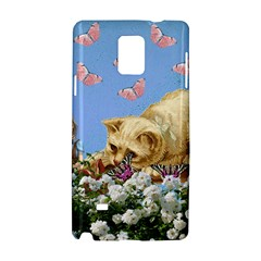 Cat And Butterflies Samsung Galaxy Note 4 Hardshell Case