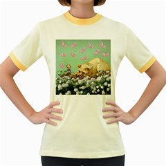 Cat And Butterflies Green Women s Fitted Ringer T Shirt