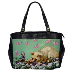 Cat And Butterflies Green Oversize Office Handbag