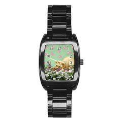 Cat And Butterflies Green Stainless Steel Barrel Watch by snowwhitegirl
