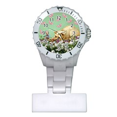 Cat And Butterflies Green Plastic Nurses Watch