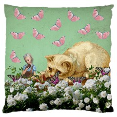 Cat And Butterflies Green Standard Flano Cushion Case (one Side)