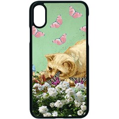 Cat And Butterflies Green Apple Iphone X Seamless Case (black)