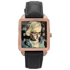 Girl Thinking Rose Gold Leather Watch