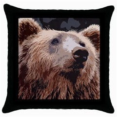 Bear Looking Throw Pillow Case (black)