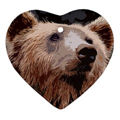 Bear Looking Heart Ornament (two Sides)