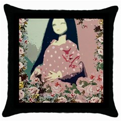 Rose Floral Doll Throw Pillow Case (black) by snowwhitegirl
