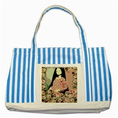 Rose Floral Doll Striped Blue Tote Bag