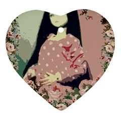 Rose Floral Doll Heart Ornament (two Sides)