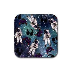 Astronaut Space Galaxy Rubber Square Coaster (4 Pack)