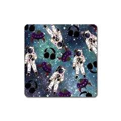 Astronaut Space Galaxy Square Magnet by snowwhitegirl