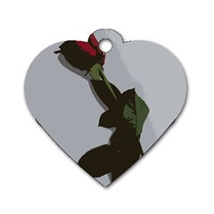 Red Rose Dog Tag Heart (one Side)
