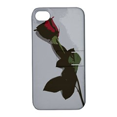 Red Rose Apple Iphone 4/4s Hardshell Case With Stand