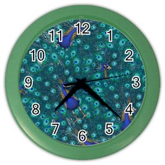 Peacocks Color Wall Clock by snowwhitegirl