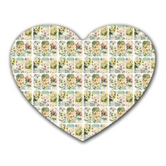 Victorian Flower Labels Heart Mousepads by snowwhitegirl