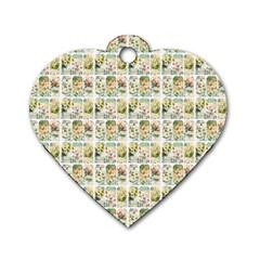 Victorian Flower Labels Dog Tag Heart (two Sides)