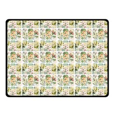 Victorian Flower Labels Double Sided Fleece Blanket (small)