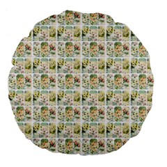 Victorian Flower Labels Large 18  Premium Flano Round Cushions