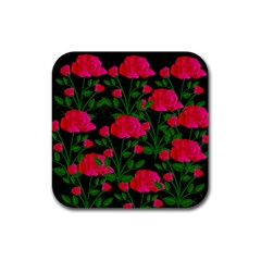 Roses At Night Rubber Square Coaster (4 Pack)