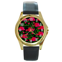 Roses At Night Round Gold Metal Watch