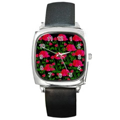 Roses At Night Square Metal Watch by snowwhitegirl