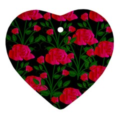 Roses At Night Heart Ornament (two Sides)