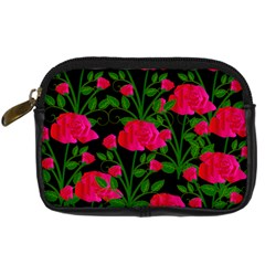 Roses At Night Digital Camera Leather Case by snowwhitegirl
