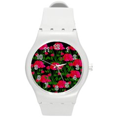 Roses At Night Round Plastic Sport Watch (m)