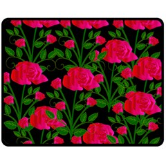 Roses At Night Double Sided Fleece Blanket (medium)