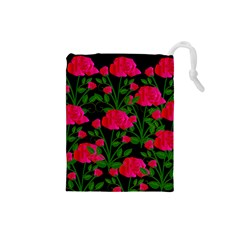 Roses At Night Drawstring Pouch (small)