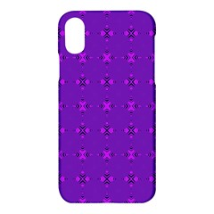 Bold Geometric Purple Circles Apple Iphone X Hardshell Case by BrightVibesDesign