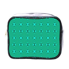 Modern Bold Geometric Green Circles Sm Mini Toiletries Bag (one Side) by BrightVibesDesign