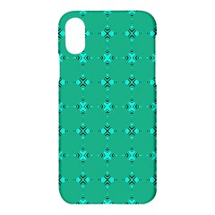 Modern Bold Geometric Green Circles Sm Apple Iphone X Hardshell Case by BrightVibesDesign