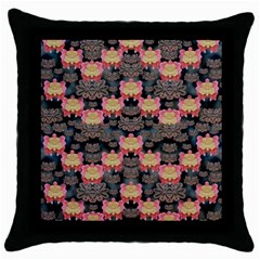 Heavy Metal Meets Power Of The Big Flower Throw Pillow Case (black) by pepitasart