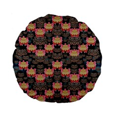 Heavy Metal Meets Power Of The Big Flower Standard 15  Premium Flano Round Cushions by pepitasart